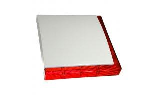 Maxalarm Vega Plus bedrade buiten sirene met 2 rode LED flitsbalken en backup accu Grade 3