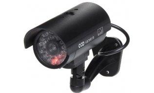 WL4 BDO-LED-B zwarte realistische dummy beveiligingscamera voor buiten met knipperende LED