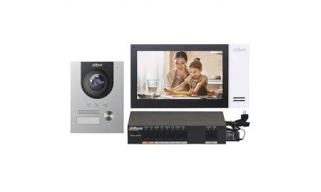 Dahua KTP01(F) complete IP video deurbel intercom kit met VTO2202F-P en VTH2421FW-P inclusief PoE switch en inbouwbehuizing
