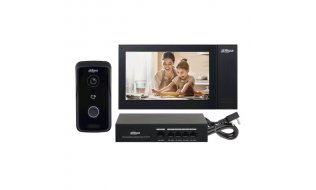 Dahua KTP02 camera intercom kit met VTO2111D-P-S2 deurbel, VTH2421FB-P monitor en PFS3005-4ET-36 PoE switch