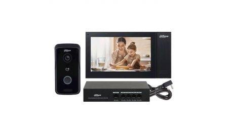 Dahua KTP02 camera intercom kit met VTO2111D-P-S2 deurbel, VTH2421FB-P monitor en PFS3005-4ET-36 PoE switch