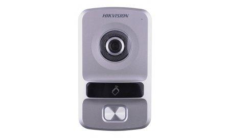 Hikvision DS-KV8102-VP buiten station met witte LED verlichting en kaartlezer