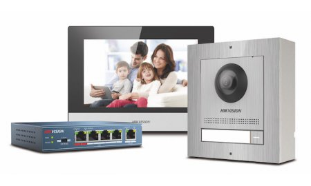 Hikvision DS-KIS602/S complete RVS IP video intercom bundel met opbouw DS-KD8003-IME1/S, DS-KH6320-WTE1, PoE switch en SD kaart