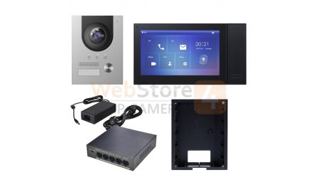 X-Security XS-KTP01(F)-B complete IP video deurbel intercom kit met XS-V2202E-IP en XS-V2421M-IP-POE-B inclusief PoE switch en inbouwbehuizing