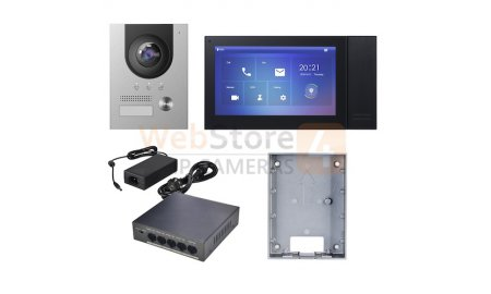 X-Security XS-KTP01(S)-B complete IP video deurbel intercom kit met XS-V2202E-IP en XS-V2421M-IP-POE-B inclusief PoE switch en opbouwbehuizing