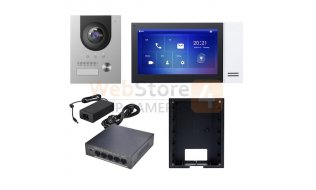X-Security XS-KTP01(F) complete IP video deurbel intercom kit met XS-V2202E-IP en XS-V2421M-IP-POE inclusief PoE switch en inbouwbehuizing