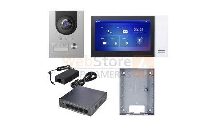 X-Security XS-KTP01(S) complete IP video deurbel intercom kit met XS-V2202E-IP en XS-V2421M-IP-POE inclusief PoE switch en opbouwbehuizing