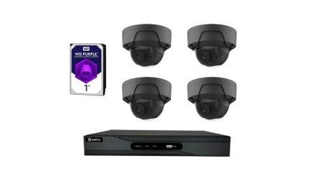 Safire set met 4x PoE 4 megapixel zwarte dome buiten camera's en een netwerk recorder met 1TB harde schijf