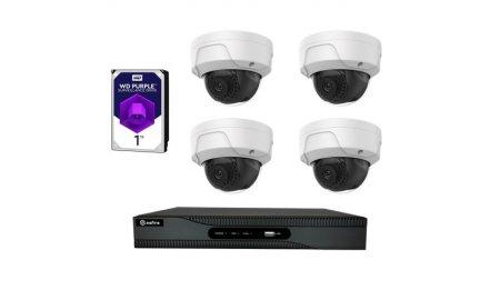 Safire set met 4x PoE 4 megapixel witte dome buiten camera's en een netwerk recorder met 1TB harde schijf