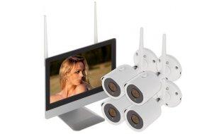 WL4 WIFI-KIT-M2B bewakingscamera set met 4x 2.1MP WiFi bullet camera's, WiFi monitor met ingebouwde recorder