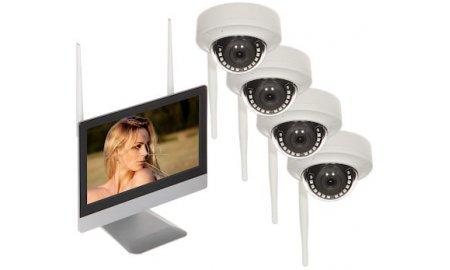 WL4 WIFI-KIT-M2D bewakingscamera set met 4x 2.1MP WiFi dome camera's, WiFi monitor met ingebouwde recorder