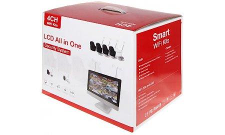 WL4 WIFI-KIT-M5B bewakingscamera set met 4x 5MP WiFi bullet camera's, WiFi monitor met ingebouwde recorder