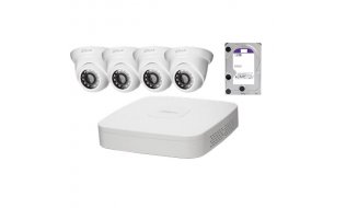 Dahua IP Camera KIT met 4 x HDW1220S-S2 Full HD 2MP eyeball en 1 x NVR2104-P-S2 PoE recorder met 1TB harde schijf
