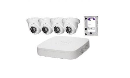 Dahua IP Camera KIT met 4 x HDW1220S-S2 Full HD 2MP eyeball en 1 x NVR2104-P-S2 PoE recorder met 1TB harde schijf
