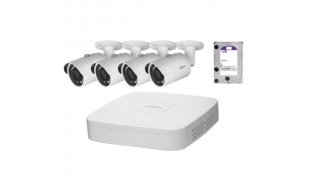 Dahua IP Camera KIT met 4 x HFW1220S-S2 Full HD 2MP bullet en 1 x NVR2104-P-S2 PoE recorder met 1TB harde schijf