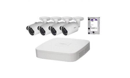Dahua IP Camera KIT met 4 x HFW1220S-S2 Full HD 2MP bullet en 1 x NVR2104-P-S2 PoE recorder met 1TB harde schijf