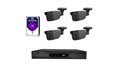 Safire set met 4x PoE 4 megapixel zwarte bullet buiten cameras en een netwerk recorder met 1TB harde schijf