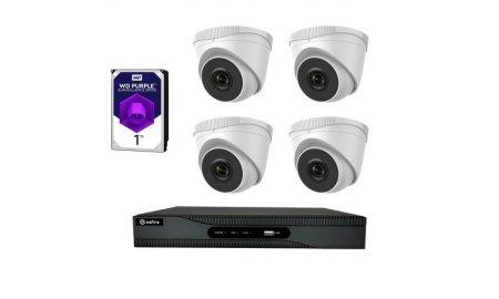 Safire set met 4x PoE 4 megapixel witte eyeball buiten camera's en een netwerk recorder met 1TB harde schijf