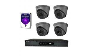 Safire set met 4x PoE 4 megapixel zwarte eyeball buiten camera's en een netwerk recorder met 1TB harde schijf