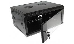 """WL4 SR4U-B Server wandkast 4U 19"""" met ventilator, voeding, deur met gehard glas en slot"""