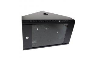 """WL4 SRC6U-B Server hoek wandkast 6U 19"""" met ventilator, voeding, deur met gehard glas en slot"""