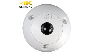 Safire SF-IPDM360-12 Full HD 12MP buiten fisheye 360 graden camera met IR nachtzicht, ePTZ, PoE, microSD en alarm/audio I/O