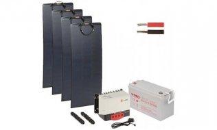 WL4 SOLAR-KIT-1000B100-20F complete zonne-energie kit met 12V 100Ah accu, snoer, 4x 100W flexibel zonnepaneel en controller met bluetooth en app