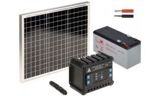 WL4 SOLAR-KIT-120B30-20 complete zonne-energie kit met 12V 12Ah accu, snoer, 30W zonnepaneel en controller