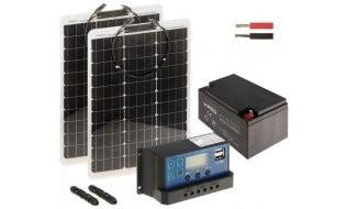 WL4 SOLAR-KIT-260B50-20F complete zonne-energie kit met 12V 26Ah accu, snoer, 2x 50W flexibel zonnepaneel en controller