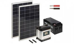 WL4 SOLAR-KIT-650B110D-20 complete zonne-energie kit met 12V 65Ah accu, snoer, 2x 110W zonnepaneel en controller