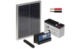 WL4 SOLAR-KIT-72B20-20 complete zonne-energie kit met 12V 7.2Ah accu, snoer, 20W zonnepaneel en controller