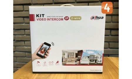 Dahua KTD01(S) complete 2-wire opbouw IP video deurbel intercom kit met VTO2202F-P-S2, VTH5422HW en VTNS2003B-2